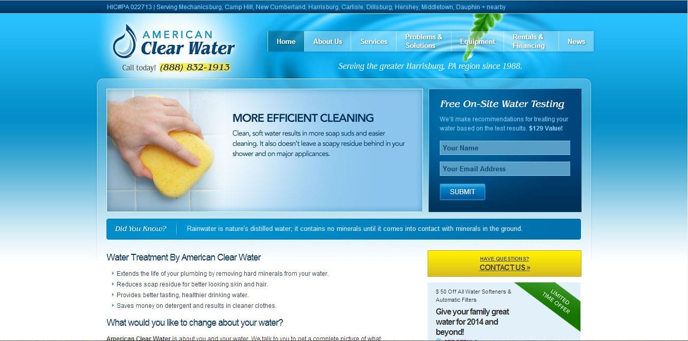 American Clear Water After WordPress CMS Conversion
