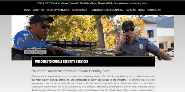 Cobalt Security Services' Website - After Text Changes