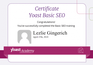 Gingerich Yoast Certification