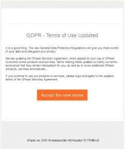GPDR Phishing cPanel