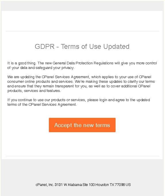 GDPR Phishing cPanel