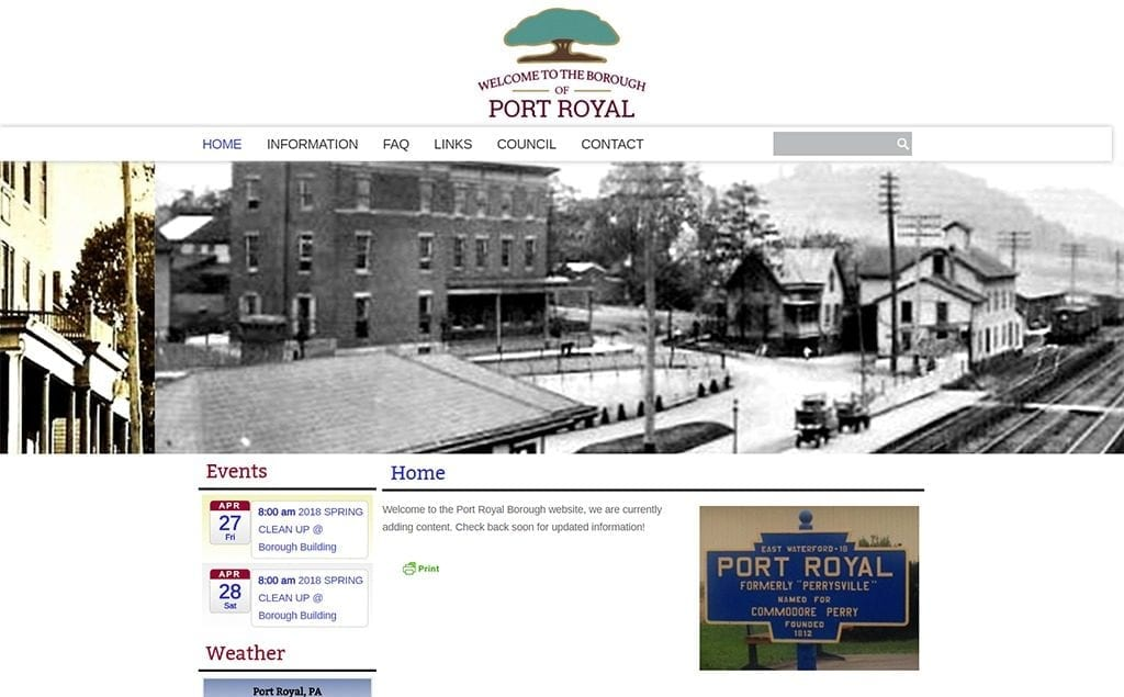 Port Royal Borough Website Design