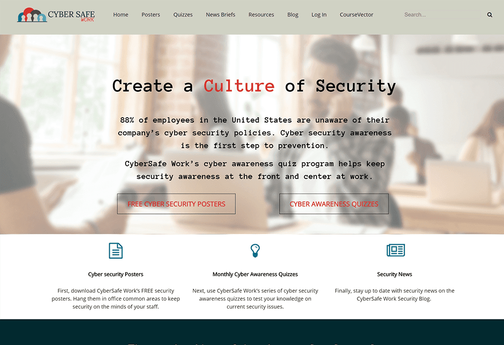 CyberSafe Work website design