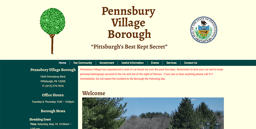 Pennsbury Village Borough Website Design