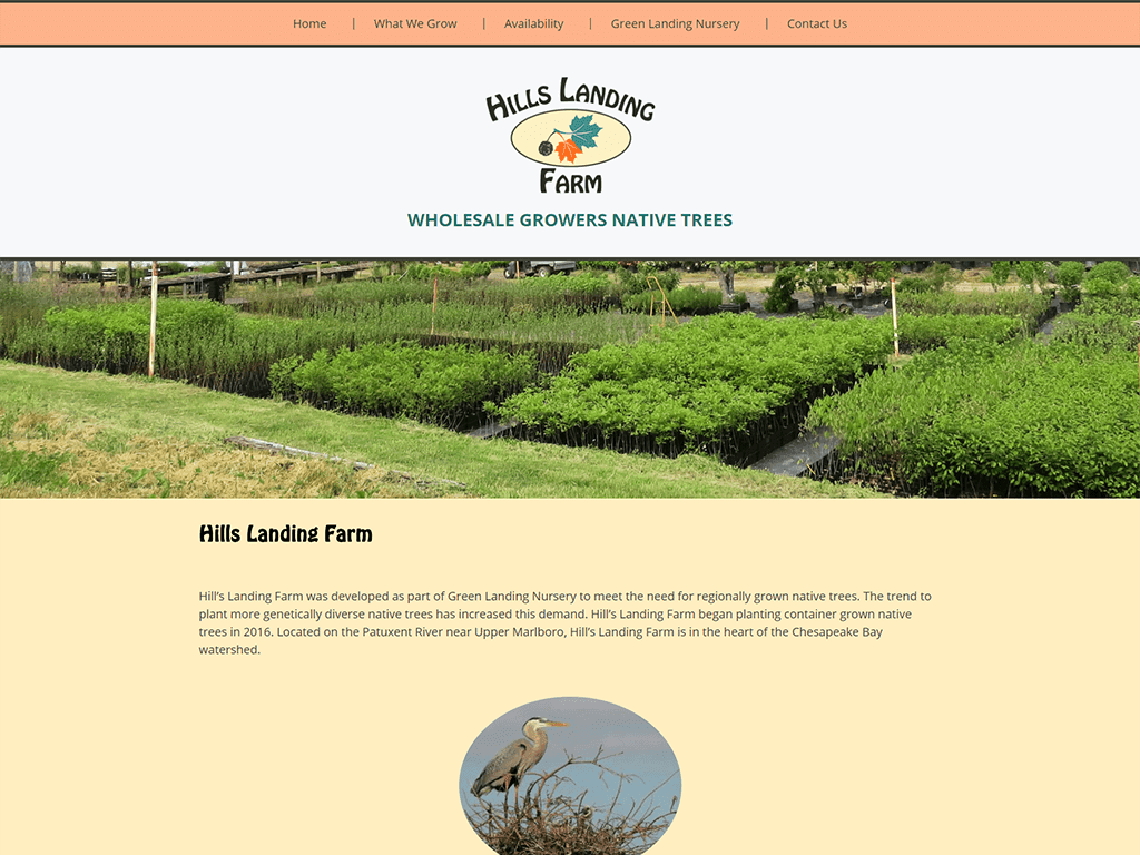 Hills Landing Farm website