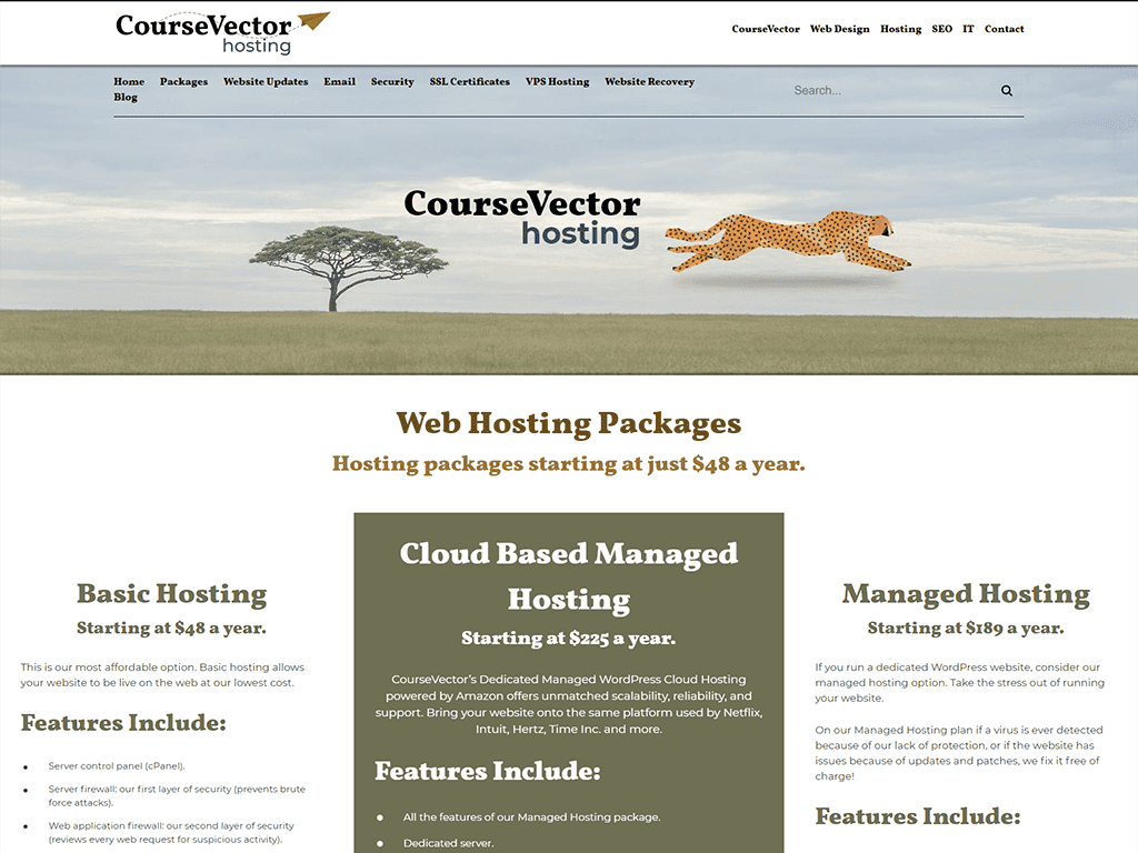 CourseVector hosting website