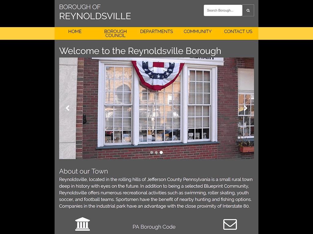 reynoldsville borough government website design