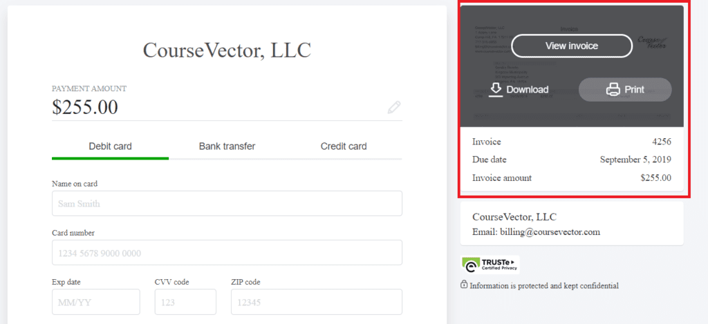 how to print an invoice from coursevector