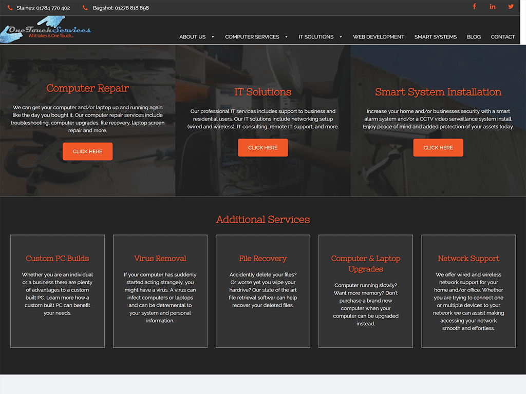 One Touch Services website