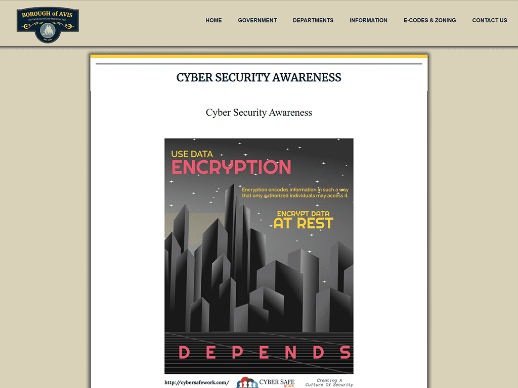 avis borough website with cyber security poster