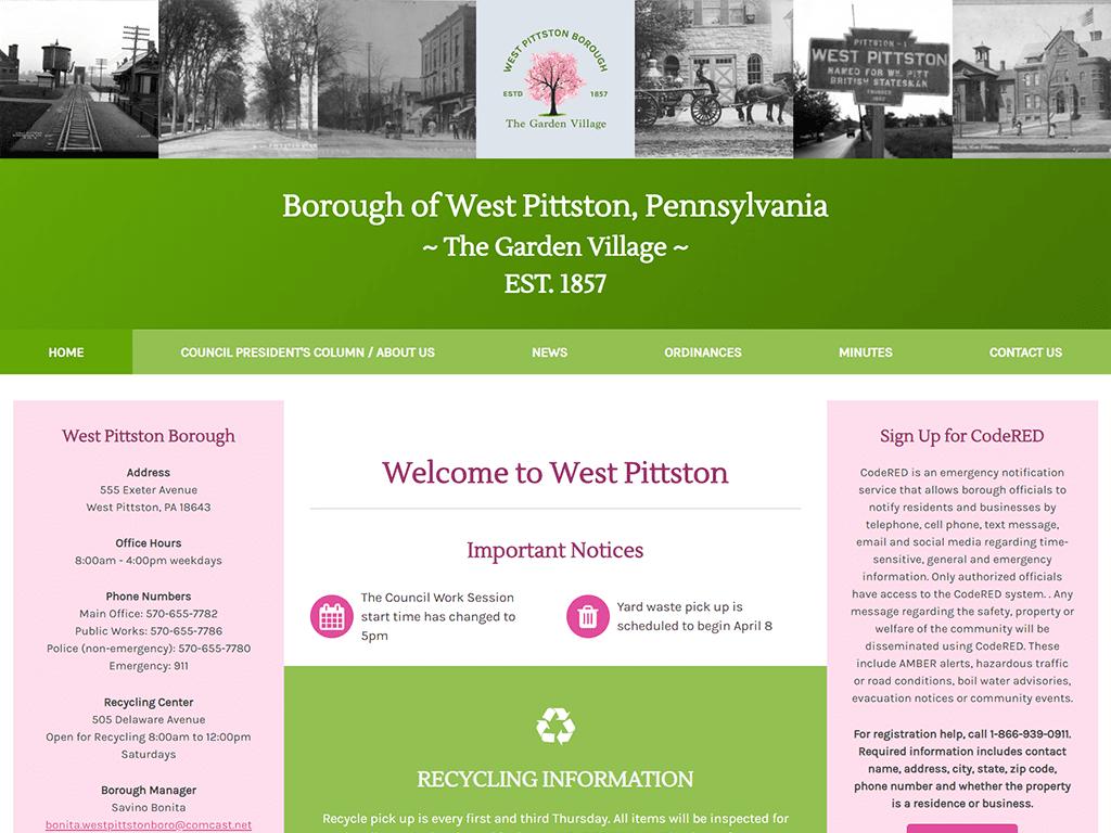 screenshot of West Pittston Borough Website